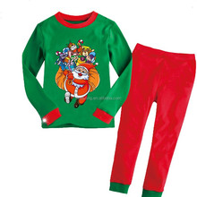 Retail 1set Christmas pajamas Children's new year costume New 2015 pajamas Long sleeves pijama sleepwear Kids