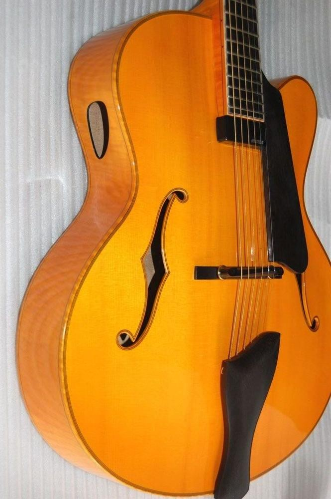 17inch fully handmade solid maple wood archtop electric jazz guitar made in china