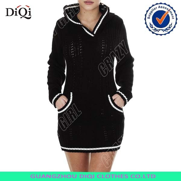 New Womens Ladies Cable Knitted Hooded sweater dress