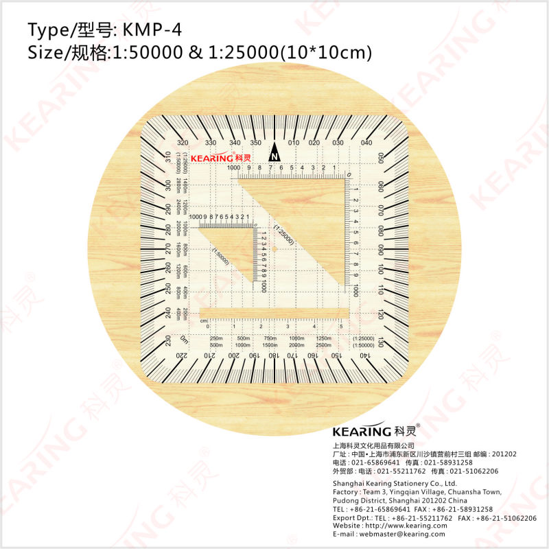 KEARING MILITARY STYLE MGRS/UTM Coordinate PROTRACTOR, square scale protractor#KMP-4