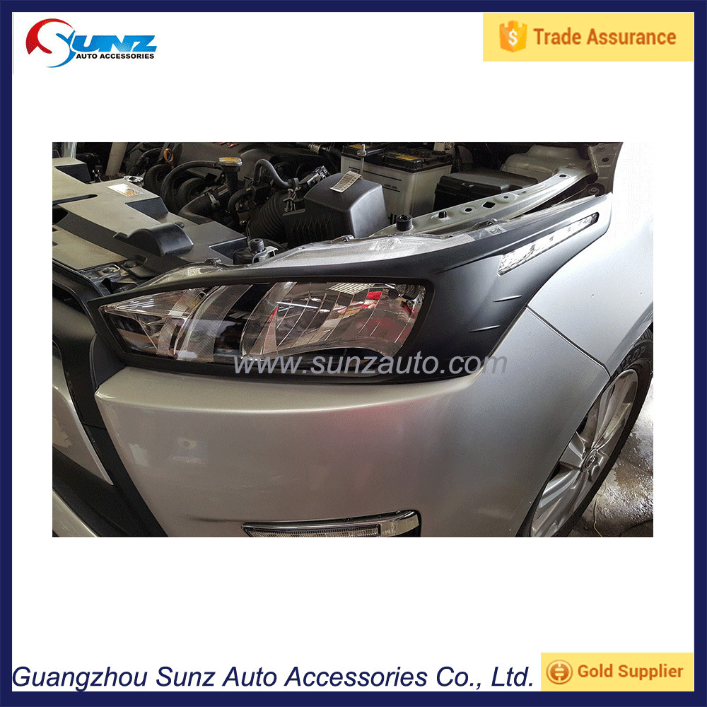 2015 For Toyota Yaris 2014 Matt Black Head Light Cover Auto Front Lamps Lighting Trims Part ABS Plastic Accessories