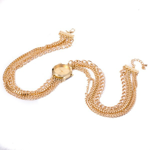 Popular Hawaiian Style Sparkling Rhinestone Metal Chain Quartz Women Bracelet Watches