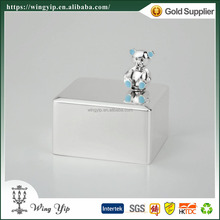 Wholesales Manufacturer with Colorful Bear Silver Plated Hand crank custom Rectangle Music box for decoration