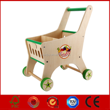 Baby Pretend Play Wooden Supermarket Shopping Cart Toy SJ5155