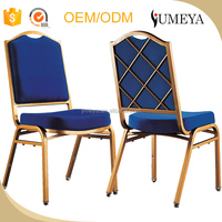 Cheap gold restaurant chair steel frame stacking metal banquet chair