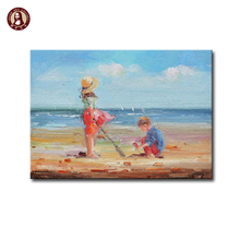 100%handmade famous beach oil painting children playing