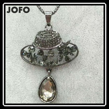 JOFO Jewelers Gifts Love Gift Superstar Accessories Eco-Alloy Hat Austrian Crystal Long Chain Pendant Necklace