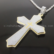 Wholesale latest design stainless steel cross necklace, unisex's religious jewelry necklace