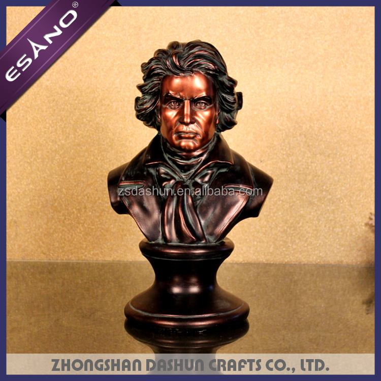 High quality resin human head sculpture of Beethoven