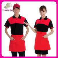 Hotel uniform waiter clothing matching canvas apron plain cotton baseball cap