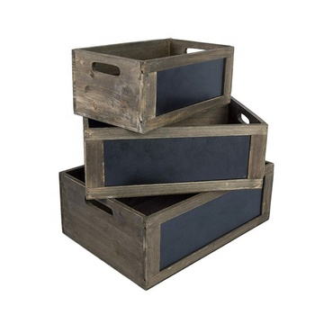 Rustic Brown Wood Nesting Storage Crates with Chalkboard Front Panel and Cutout Handles, Set of 3