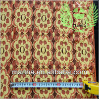 Orange and yellow floral design fabric for girl's lace clothing