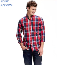 Classic Plaid Shirt for Men newest design stand collar left chest pocket shirts for mens shirt collar design