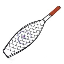 non stick wire meshes salad fish fillet grilling basket net BBQ barbecue roasting with wooden handle