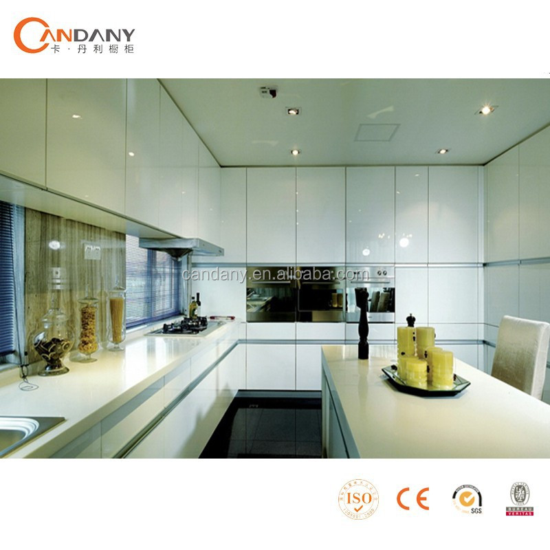 famous kitchen in Canton Fair melamine surface mdf kitchencabinet with lacquer door