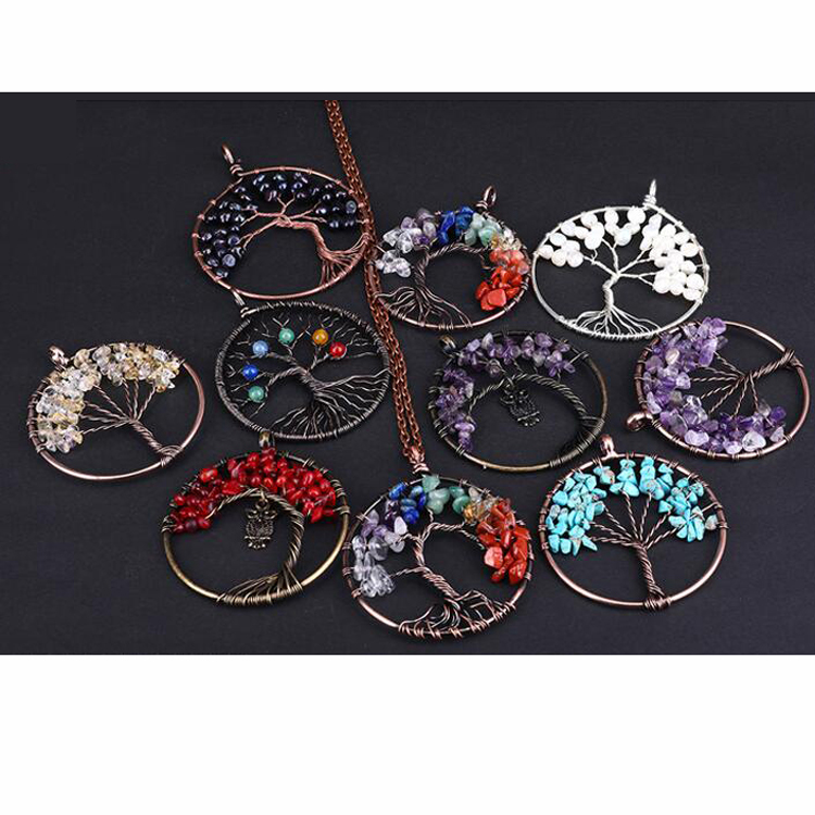 Hot sale alloy necklaces lady natural gravel stone pendant jewelry necklace for women ladies