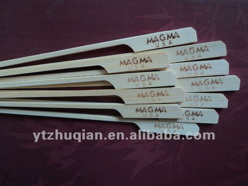 High quality disposable flat handle natural mao bamboo skewer