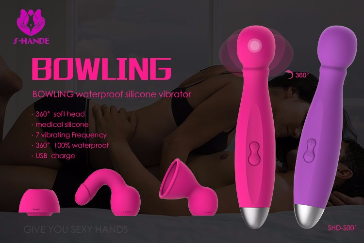 S-HANDE wand massager vibrator sex toy made from medical grade silicone with attachments to achieve multiple orgasm