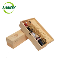 Clear 2 bottles wooden wine glass packing box