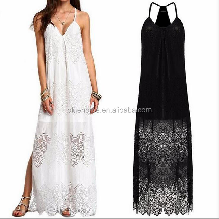 Women white lace beach dress deep v neck long maxi slip dress