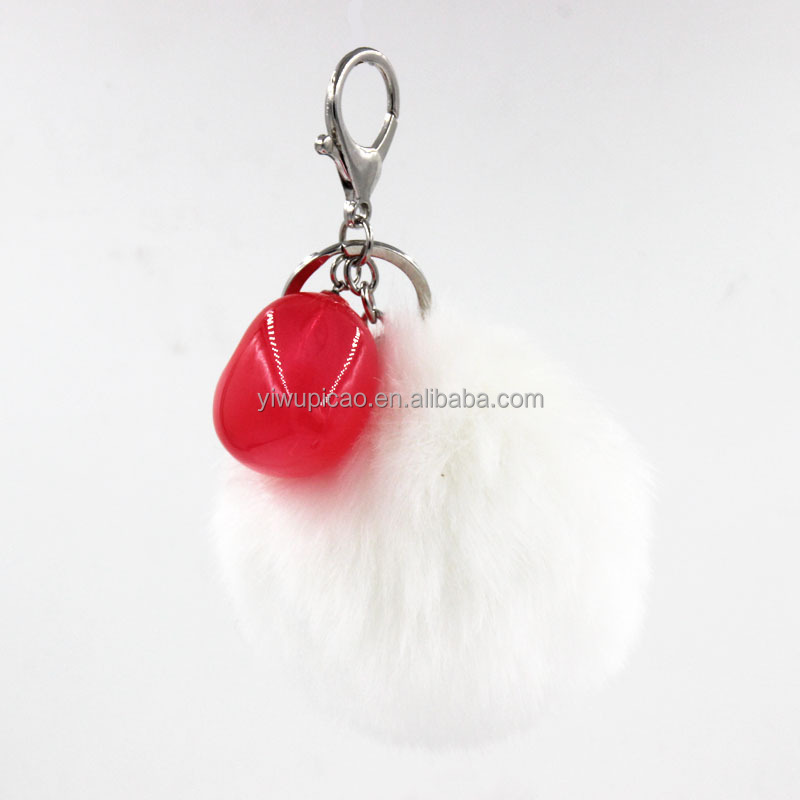 Fashion New Arrival Good Quality Jelly White Heart Shape Faux Fur Ball Couple Key Chain Bag charm Car Pendant Jewelry Pom Pom