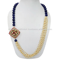 MULTI STONE STRAND NECKLACE INDIAN WOMEN WEDDING PARTY WEAR TRADITIONAL JEWELRY