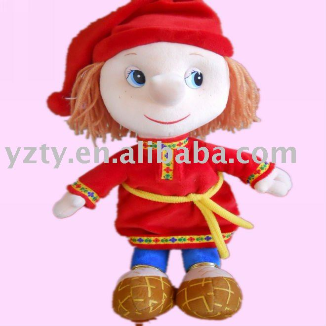 factory supply fashinable plush doll with brown hairs