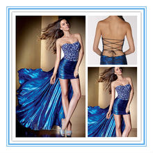2016 New Style Royal Blue High Low Crystals Evening Dresses In Istanbul(EVAL-1003)