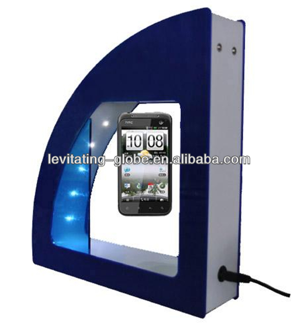 Advertising display stand of magnetic levitation floating mobile phone dislpay stand with led lights