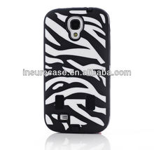 Traditional black/white Zebra stripes silicon part with hard PC combo case for Samsung Galaxy S4 I9500 with Screen Protector
