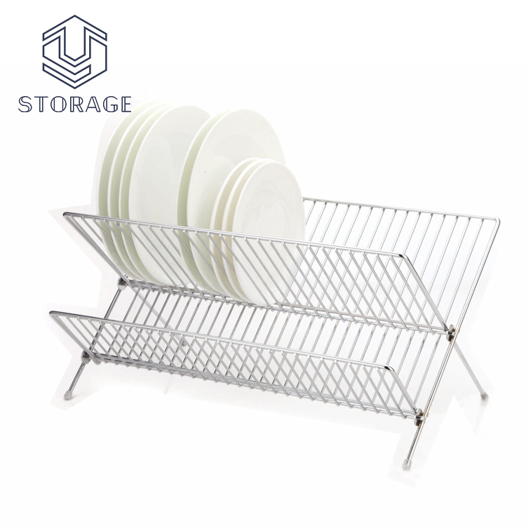304 stainless steel kitchen metal wire chrome plated dish rack magnet plate dish drying steel kitchen utensil rack