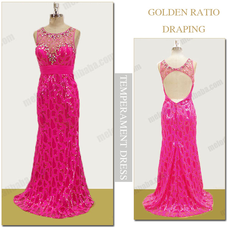 Rosy beaded sequins sheath a line floor length ladies western dress designs