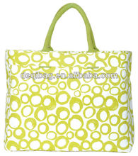 Durable Tote Bag canvas yellow circle full printing shoudler hand bag hot sale