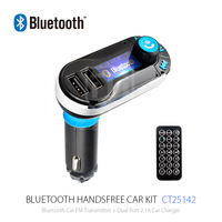 Easy to Use Remote Control Bluetooth FM Transmitter with Dual 5V 2.1A USB Car Charger for Universal Devices