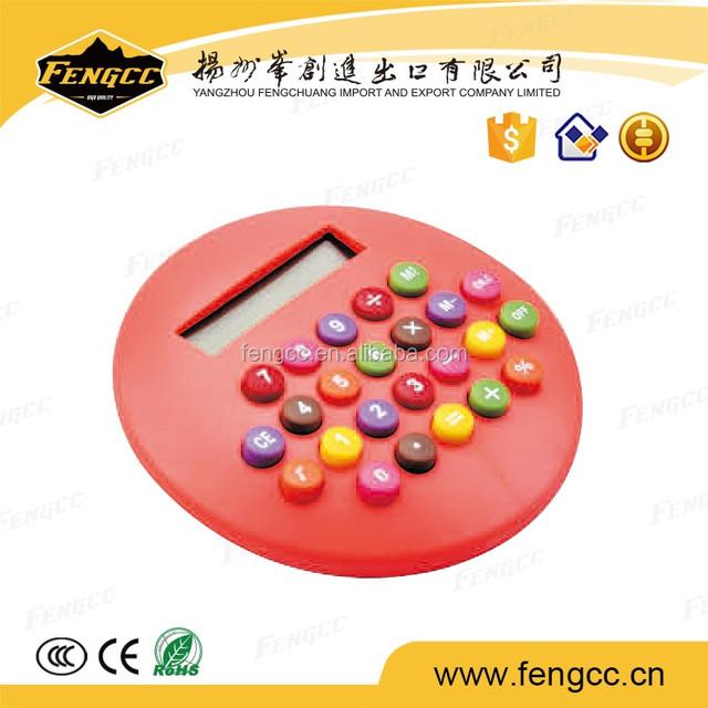 Mini Promotional plastic round hamburg shape gift Calculator with logo printed