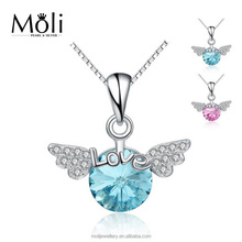 Lovely Sweet Angle Wing Design Gemstone 925 Sterling Silver Angel Pendant Fine Fashion Jewelry for 25-35 Women