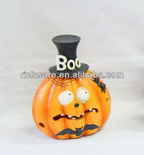 Resin halloween pumpkin with hat