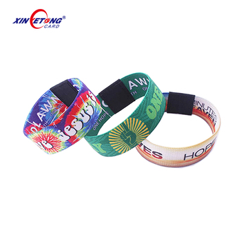 Fashion Design elastic fabric bracelets NFC wristbands strap Stretch Woven RFID Wristband
