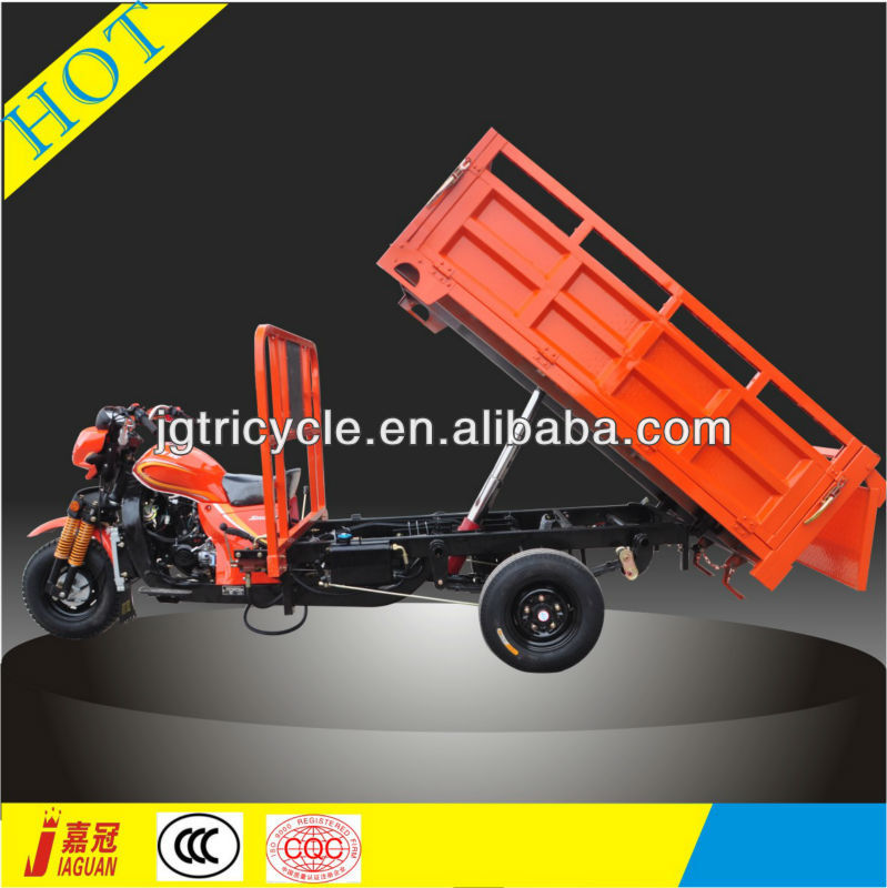 Stable off road self dumping motor tricycle