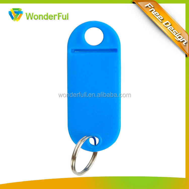 plastic key tag with id label