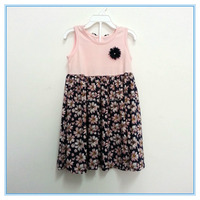Wholesale Children Girls sleeveless flower printed pink colorful summer dress fancy cotton one-piece dress boutique dress