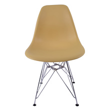 Christmas santa style Modern Yellow Stackable Dining Chair Plastic Side Chairs with Metal Legs