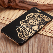 Promotion! Real Wood Case Laser Engraving Skull Head Design Cell Phone Case for iPhone 5, for iPhone 6, for iPhone 6Plus