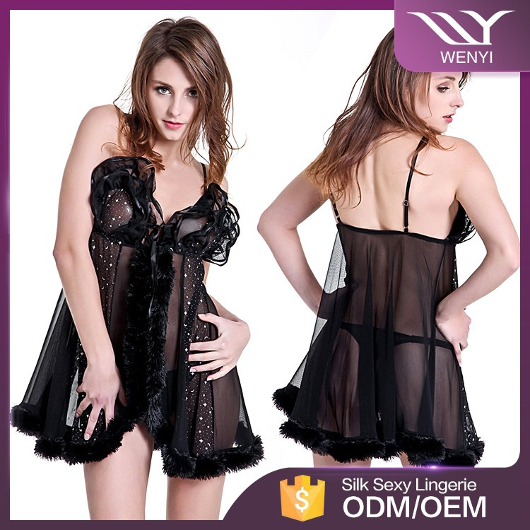 China manufacturer wholesale nade gilrs fashion show sleepwear nighty sexy babydoll