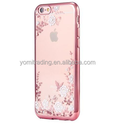 2016 Luxury Secret Garden Flowers Rhinestone Cell Phone Cases For IPhone7 coque Women Plating capa Case Cover
