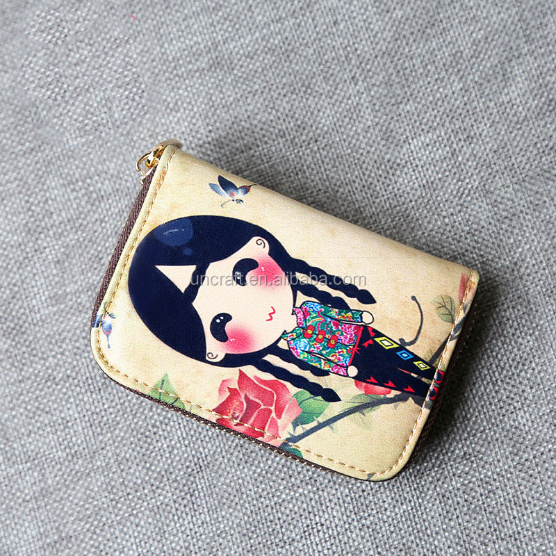 2017 processing customized real pick-bag taobao south Korean edition creative painting girl bag zero wallet card sleeve