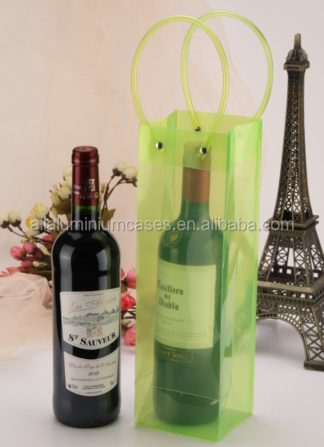 Clear single bottle wine tote/fabric wine bags with ribbon