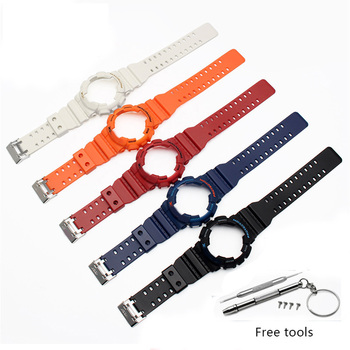 Rubber watch strap for casio GD GLS GA120 GA-100 GA-110 Silicone Rubber watchband sport watches band and watch case