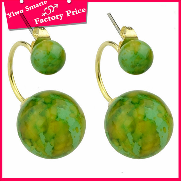 Best quality fashion jewelry 2016 custom metal logo cheap plastic green stone earrings