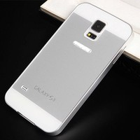 For Samsung Galaxy S5 Acrylic Glass Back Cover Aluminum Metal Arc Bumper Case